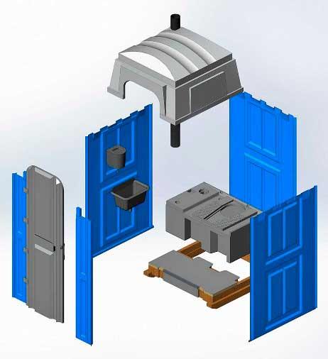 Основные компоненты конструкции дачной туалетной кабины «Стандарт»